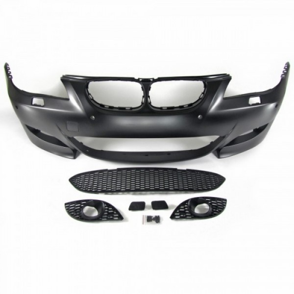 Front bumper in sports design with PDC markings suitable for BMW 5er E60 Limousine year 07.2003 - 03.2007 and E61 Touring year 06.2004 - 03.2007