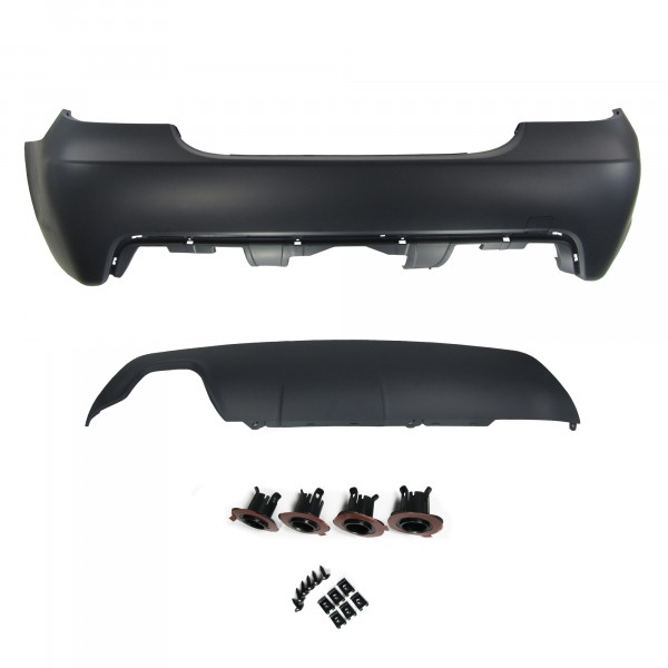 Rear bumper in sports design with PDC markings for 30mm wholes suitable for BMW 5er E60 year 2003 - 2010