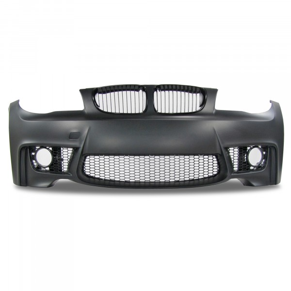 Front bumper in sports design with grille suitable for BMW 1er E81 (3 doors) E82 (Coupe) E87 (5 doors) E88 (Cabrio) year 2004-2013