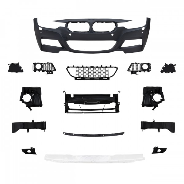 Front bumper in sports design with PDC holes and HCS suitable forBMW 3er F30 Limousine year 10.2011 -