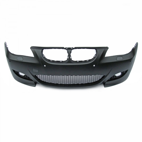 Front bumper with cuttings for headlight cleaning system and PDC, sport look suitable for BMW E60 Facelift year. 03.2007-03.2010