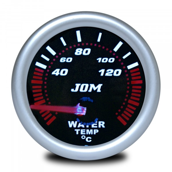 Gauge, water temperature, black reflecting cover glass 52mm