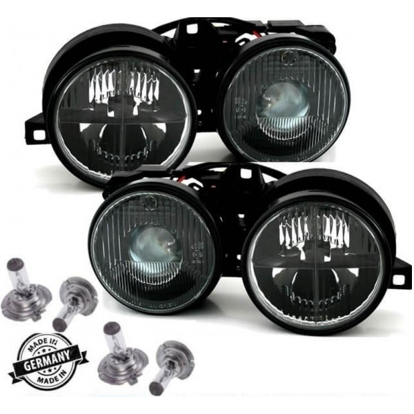 Depo headlights with crosslines black H1/H1 fits on BMW 3er E30 82-94 + 4x H1 brand bulbs