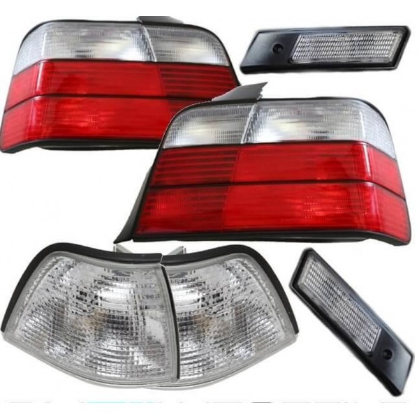 Set Coupe Convertible Rear lights + side indicators + Front indicators Facelift look red white fits on BMW E36 up 91-96